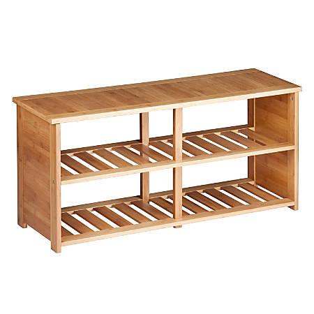 "Honey-Can-Do 10-Pair Shoe Bench, 19 1/2""H x 42 1/8""W x 13 1/8""D, Bamboo"