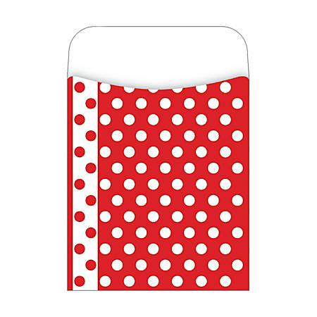 "Barker Creek Peel & Stick Library Pockets, 3 1/2"" x 5 1/8"", Red And White Dots, Pack Of 30"
