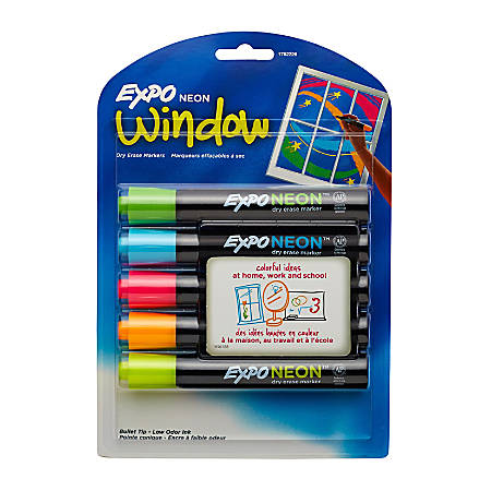 EXPO® Neon Dry-Erase Markers, Assorted, Pack Of 5