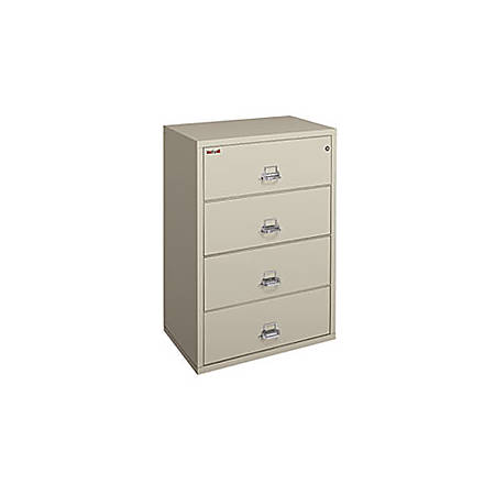 """FireKing UL 1-Hour Lateral File, 4 Drawers, 52-3/4""""H x 44-1/2""""W x 22-1/8""""D, Parchment, White Glove Delivery"""