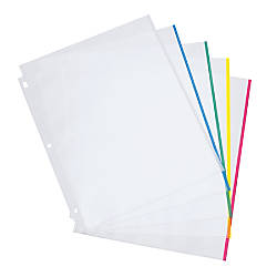 OfficeMax Top Load Heavyweight Color Bar Poly Sheet Protectors Clear ...