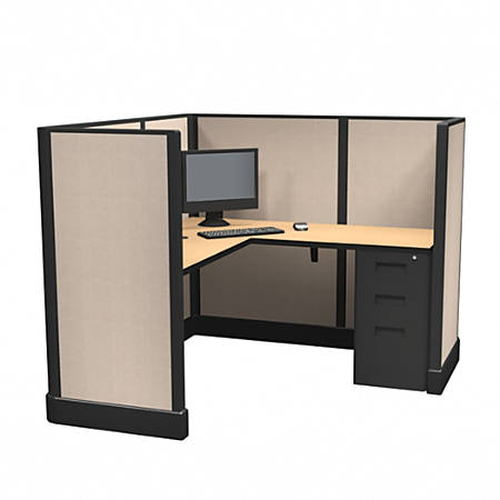 Cube Solutions Commercial-Grade Mid-Height L-Shaped Space-Saver Cubicle, Single Cubicle