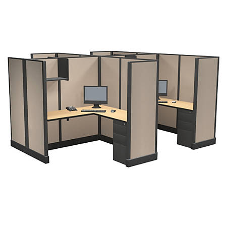 Cube Solutions Commercial-Grade Full-Height L-Shaped Space-Saver Cubicle, Includes Integrated Power, Pod of 4