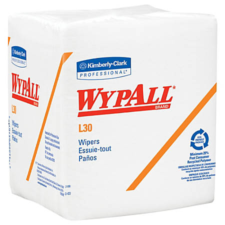 "Kimberly-Clark® WYPALL L30 Quaterfold Dry Wipes, Unscented, 12 1/2"" x 13"", White, 90 Wipers Per Pack, Case Of 12 Packs"