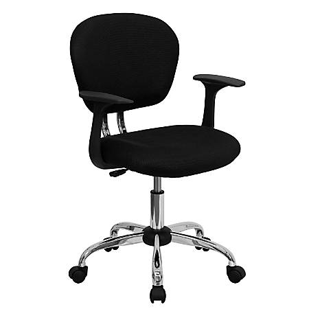Flash Furniture Mesh Mid-Back Swivel Task Chair With Arms, Black/Silver
