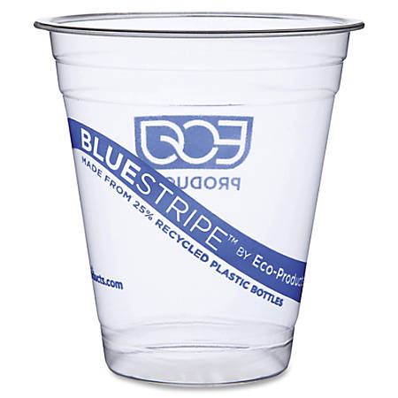 Eco-Products BlueStripe Cold Cups - 50 - 12 fl oz - 500 / Carton - Clear - Cold Drink - Recycled