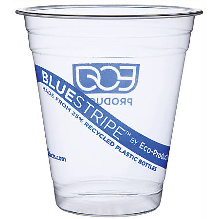Eco Products Recycled Content Clear Plastic Cold Drink Cups, Blue Stripe, 12 oz., Clear, 1000/Carton