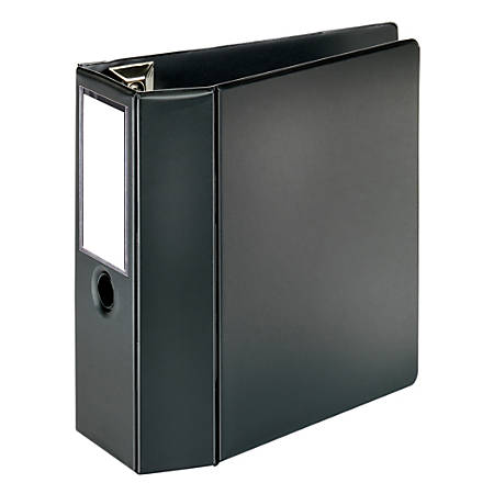 """[IN]PLACE® Heavy-Duty D-Ring Label Holder Reference Binder, 5"""" Rings, 100% Recycled, Black"""