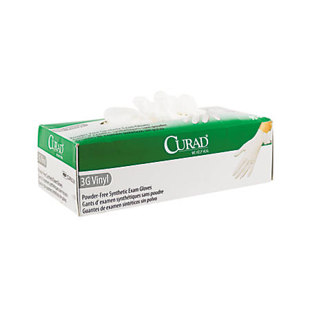 CURAD® 3G Powder-Free Synthetic Vinyl Disposable Exam Gloves, Extra-Large, White, Box Of 90