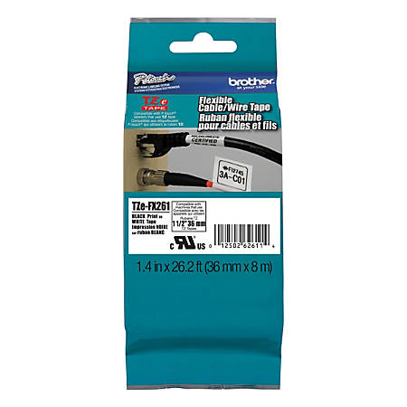 "Brother® TZe FX651 Flexible Label Maker Tape, 1.5"" x 26.2', Black Print/White Label"