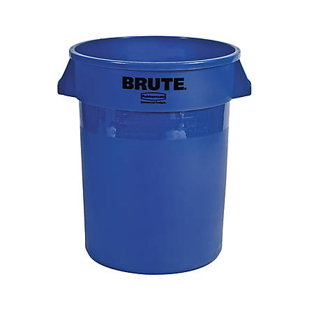 Rubbermaid Commercial Brute Round Container - 32 gal Capacity - Round - Heavy Duty, Handle, Tear Resistant, Damage Resistant, Durable, UV Coated, Fade Resistant, Warp Resistant, Crack Resistant, Crush Resistant - Blue