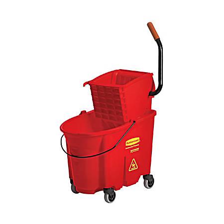 Rubbermaid® Commercial WaveBrake Plastic/Steel Side-Press Wringer/Bucket Combo, 8.75 Gallons, Red