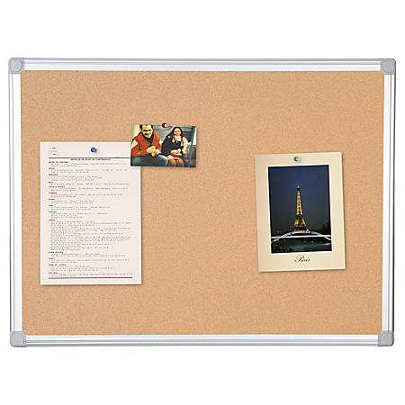"""MasterVision™ Earth Cork Board With Aluminum Frame, 36"""" x 48"""", 80% Recycled"""