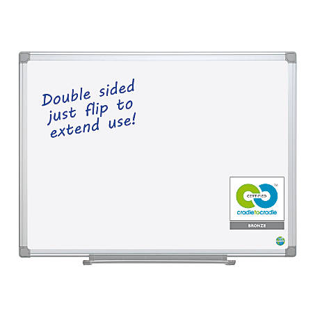 """MasterVision™ Earth Silver Easy-Clean™ 80% Recycled Dry-Erase Board, 36"""" x 48"""""""