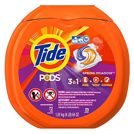 Tide® Pods Single-Use Laundry Detergent, Spring Meadow, 72 Pods Per Pack, Case Of 4 Packs