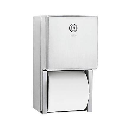 """Bobrick 2-Roll Toilet Tissue Dispenser, 6 1/8"""" x 6"""" x 11"""", Stainless Steel"""