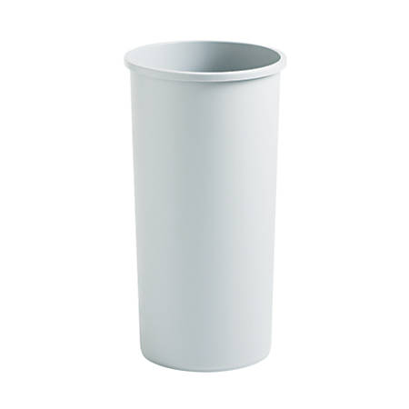 """Rubbermaid® Untouchable Round Plastic Trash Can, 22 Gallons, 30 1/8"""" x 15 3/4"""" x 15 3/4"""", Beige"""