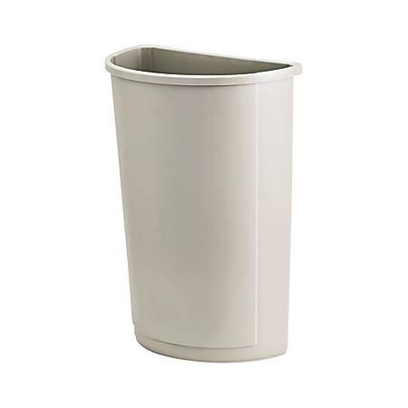 "Rubbermaid® Untouchable Half-Round Plastic Trash Container, 28"" x 21"" x 11"", 21 Gallons, Beige"