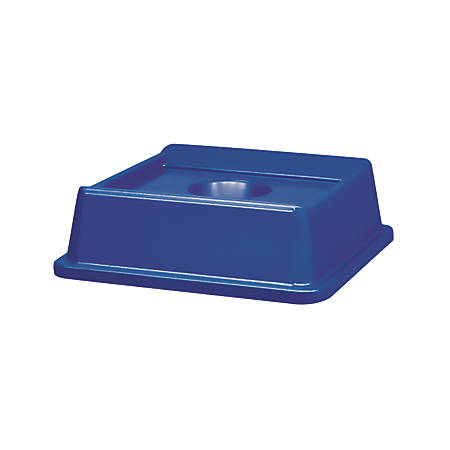 "Rubbermaid® Untouchable Square Plastic Bottle And Can Recycling Top, 20 1/8"" x 20 1/8"" x 6 1/4"", Blue"