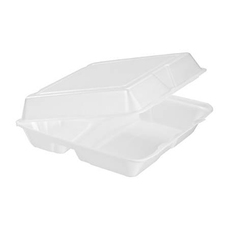 "Dart Carryout Food Containers, Foam-Hinged, 3 Compartments, 9 1/2"" x 9 1/4"" x 3"", White, Pack Of 200"