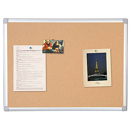 "MasterVision™ Earth Cork Board With Aluminum Frame, 48"" x 72"", 80% Recycled"