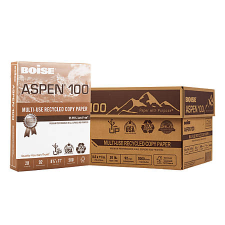 """Boise® ASPEN® 100 Multi-Use Paper, Letter Size (8 1/2"""" x 11""""), 20 Lb, 100% Recycled FSC® Certified, Ream Of 500 Sheets, Case Of 10 Reams"""