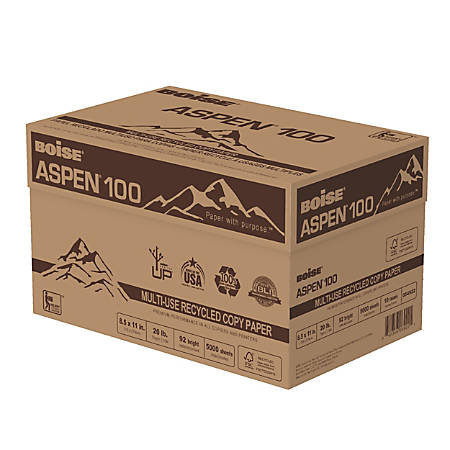 Boise® ASPEN® Multipurpose Paper, Letter Paper Size, 20 Lb, 100% Recycled FSC® Certified, 500 Sheets Per Ream, Case Of 10 Reams
