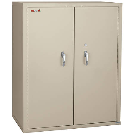 """FireKing® Fire-Resistant Storage Cabinets, 2 Adjustable Shelves, 44""""H x 36""""W, Parchment, White Glove Delivery"""
