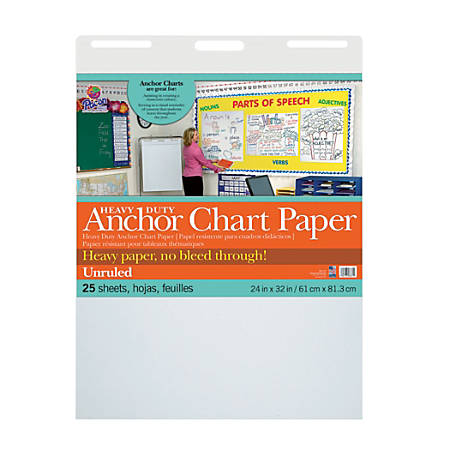 """Pacon®Heavy-Duty Anchor Chart Paper Pad, 24"""" x 32"""", Unruled, White, 25 Sheets"""