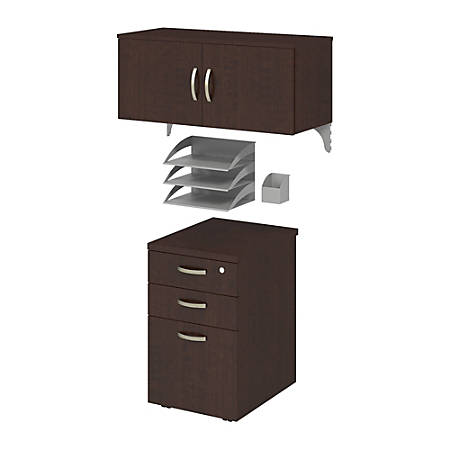 Bush Business Furniture Office In An Hour Storage & Accessory Kit, Mocha Cherry Finish, Standard Delivery