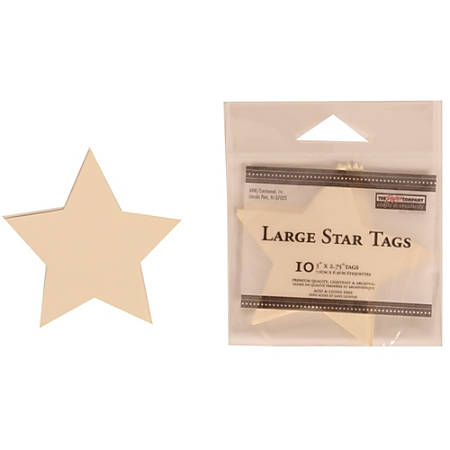 """JAM Paper® Gift Tags, 3"""" x 2 3/4"""", Ivory Star, Pack Of 10"""