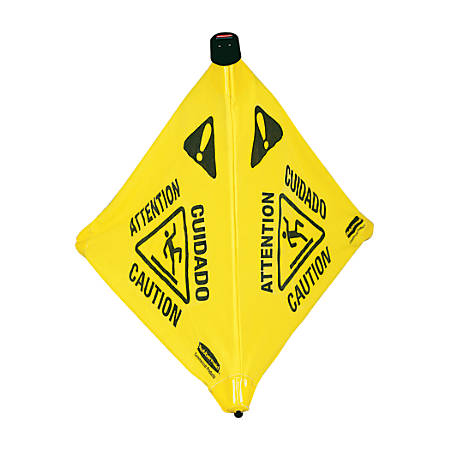 "Rubbermaid® 3-Sided Wet Floor Safety Cone, 30"" x 21"" x 21"", Yellow"