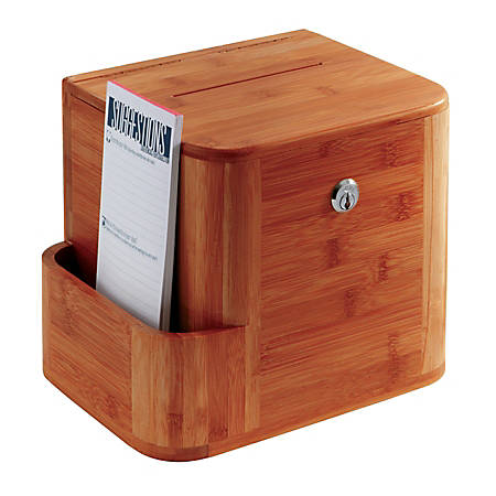 "Safco® Bamboo Suggestion Box, 14""H x 10""W x 8""D, Cherry"