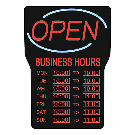 "Royal Sovereign (RSB-1342E) ""Open"" Business Hours Sign"