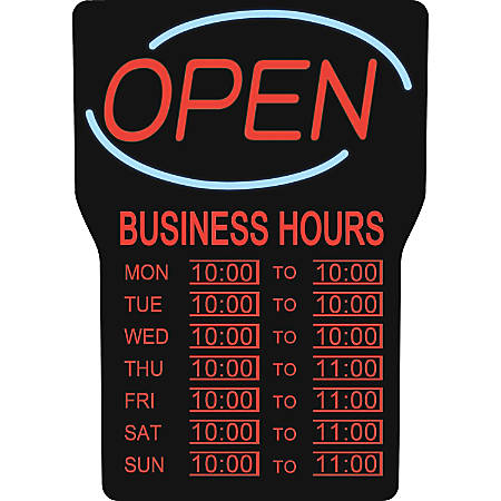 "Royal Sovereign Business Hours Open Rectangular Light-Up Sign, 16"" x 24"", Blue"