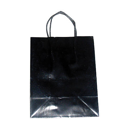 "OfficeMax High-Gloss Paper Bags, 10""H x 8""W x 4 3/4""D, Black/White, Pack Of 125"