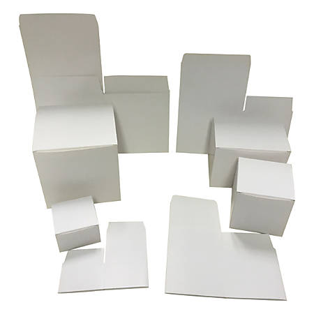 """OfficeMax® Folded Boxes, 3"""" x 3"""" x 2"""", White, Pack Of 100"""