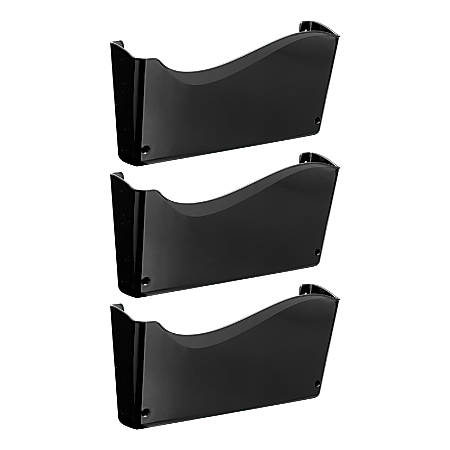 """Officemate® OIC® 2200 Series Wall Files, 19 1/2"""" x 13 3/4"""" x 3"""", Black, Pack Of 3"""
