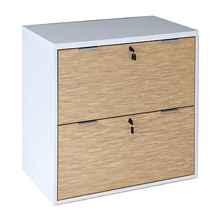 """Z-Line Designs Z-Tech Modular Lateral File Cabinet, 27 3/4""""H x 29""""W x 18 1/2""""D, Oak/Silver/White"""