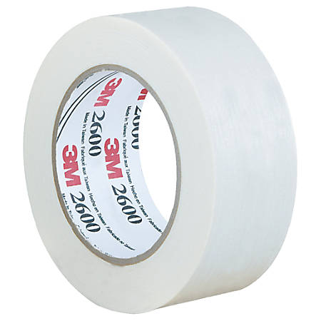 "3M™ 2600 Masking Tape, 3"" Core, 2"" x 180', White, Case Of 12"
