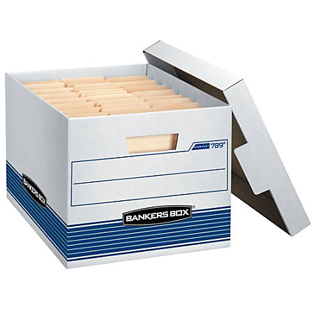 "Bankers Box® Stor/File™ Storage Boxes, 15"" x 12"" x 10"", Letter/Legal Size, 60% Recycled, White/Blue, Pack Of 12"