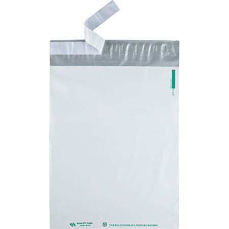 "Quality Park™ Self-Adhesive Poly Mailers With Perforation, 12"" x 15 1/2"", White, Pack Of 100"