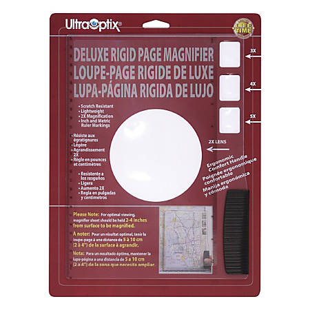 Ultra-Optix Deluxe Rigid Page Magnifier, 2x