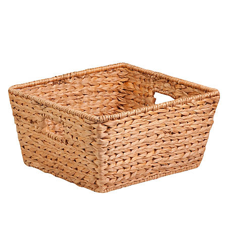 "Honey-Can-Do Water Hyacinth Basket, 15""L x 15""W x 8""H, Brown/Natural"