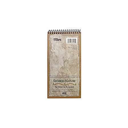 "TOPS® Second Nature® 100% Recycled Reporter's Notebook, 4"" x 8"", 1 Subject, Gregg Ruled, 70 Sheets, White"