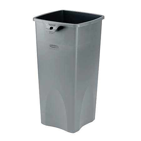 """Rubbermaid® Square Waste Containers, 23 Gallons, 31""""H x 15 1/2""""W x 16 1/2""""D, Gray"""