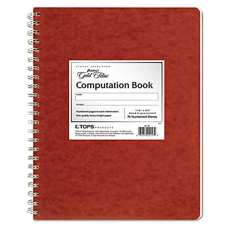 "Ampad Retro Computation Notebook - 75 Sheets - Double Wire Spiral - 24 lb Basis Weight - 9 1/4"" x 11 3/4"" - Ivory Paper - Red Cover - Pressboard Cover - Numbered, Heavy Duty Cover, Hard Cover, Chipboard Backing, Label - 1Each"