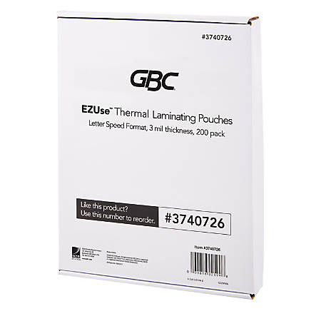 "GBC® EZUse™ Thermal Laminating Speed Pouches, 3 mils, 8 1/2"" x 11"", Clear, Pack Of 200, 3740726"