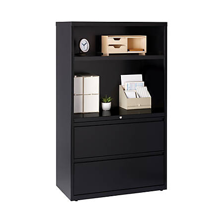 """WorkPro® 36""""W Lateral File Cabinet With Bookcase, 2 Drawers, 2 Shelves, Black"""