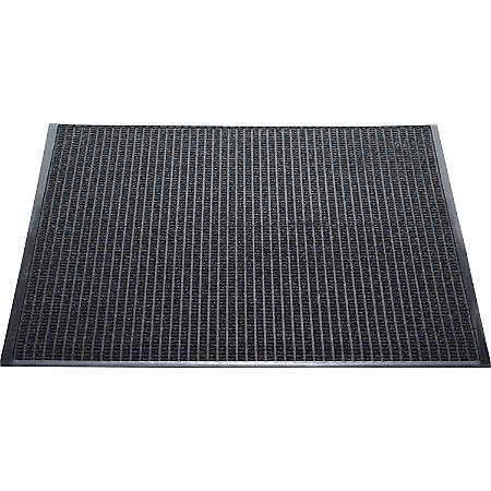 "Genuine Joe Waterguard Floor Mat - 10 ft Length x 36"" Width - Rectangle - Rubber - Charcoal"